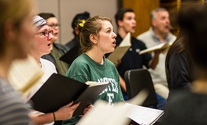 An EMU Choir group at practice.