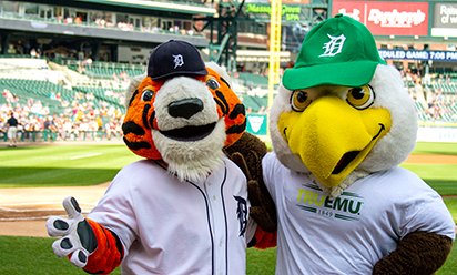 Swoop and Paws mascots at Comerica Park