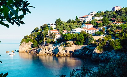 The shoreline of Ulcinj, Montenegro.
