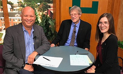 Mark S. Lee, Professor Ray Quiel and Sarah Poteracki on the the set of EMU Today TV.