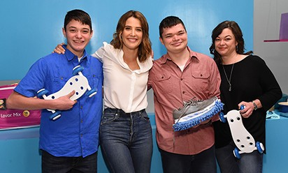 An inventive crew, left to right: Parker Frye, Cobie Smulders, Evan Frye and Jennifer Frye.