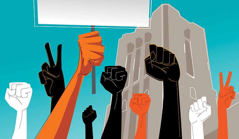 Stylized illustration of hands up in the air with a picket sign at a protest in front of Pierce Hall.
