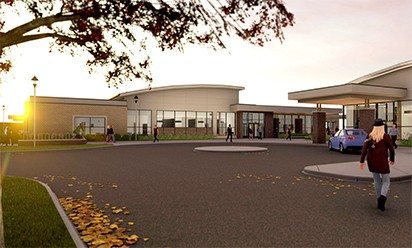 An architect's rendering of new health center facility on campus.