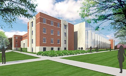 An artist's rendering of what Jones Hall may look like after renovation.