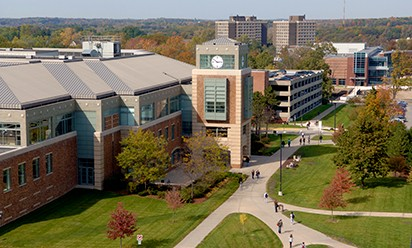 EMU campus aerial featuring Halle Library