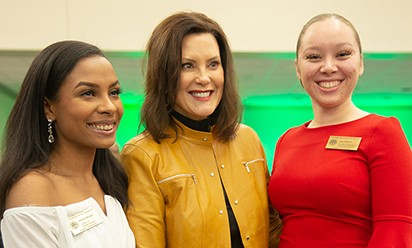 Allanah Morales, Gov. Gretchen Whitmer and Kyra Mitchell at 2020 MLK luncheon.