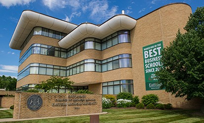 Exterior photo of EMU's College of Business building
