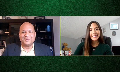 Mark S. Lee interviews Farah Harb remotely for EMUToday TV.