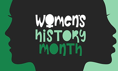 "Women's silhouettes in profile and ""Women's History Month"" in green type"