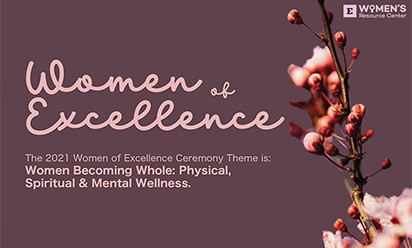 Flowery artwork promoting EMU's 2021 Women of Excellence Ceremony