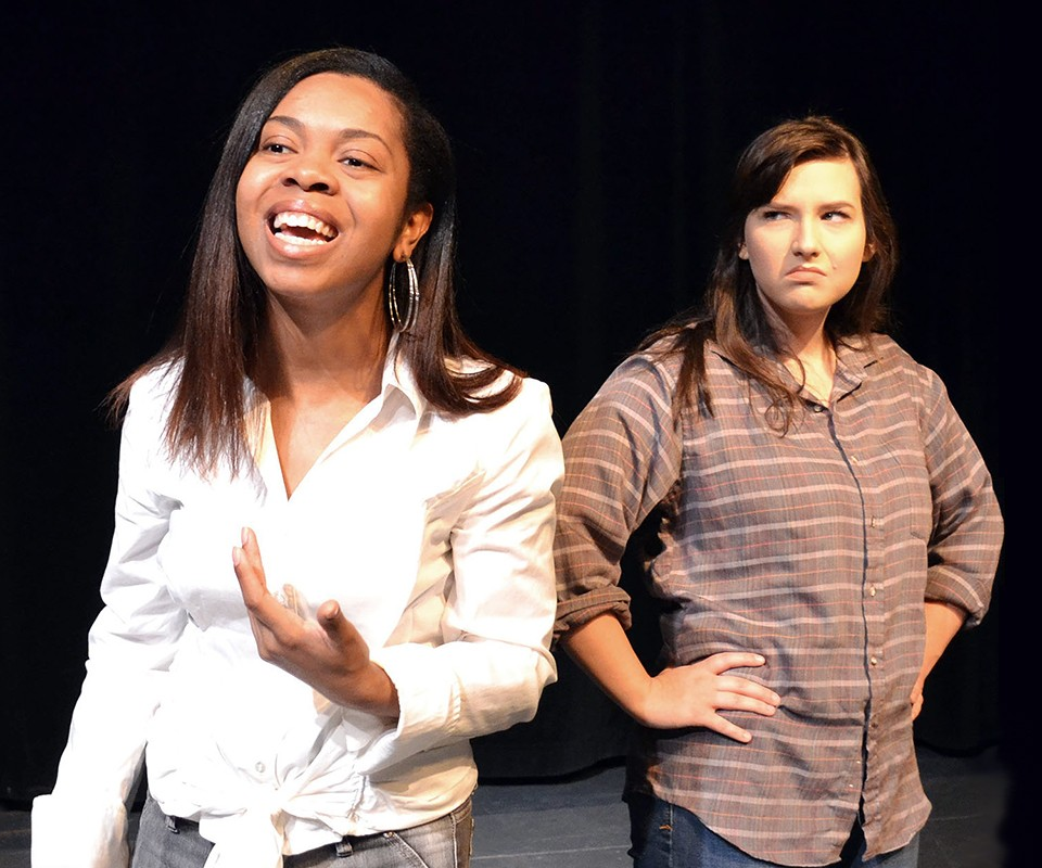 "EMU students Tayler Jones as Cynthia and Jackie Marlett as Tracey in EMU Theatre's production of ""Sweat."""