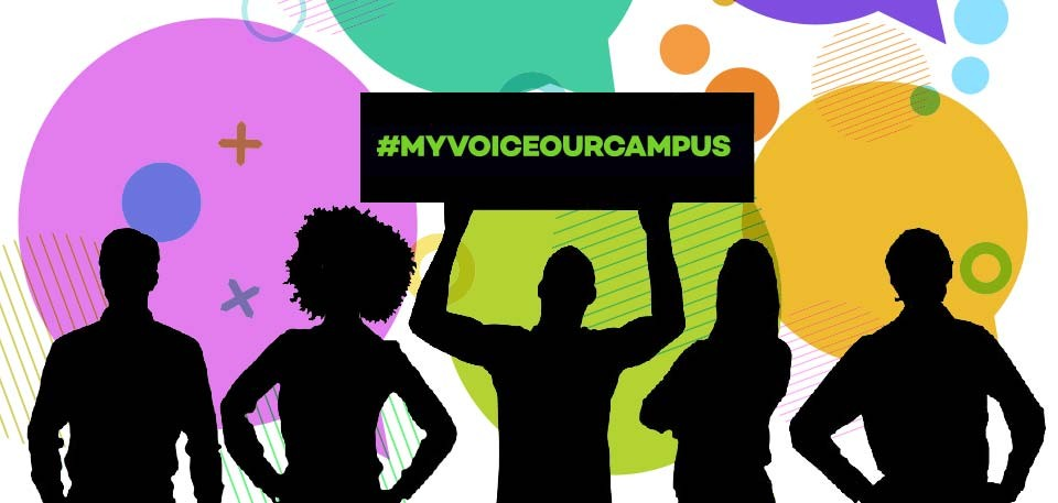 Colorful speech bubbles and silhouettes of young people are the artwork for the survey on campus sexual misconduct culture.