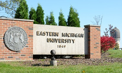 Eastern Michigan University sign at the entrance to campus.