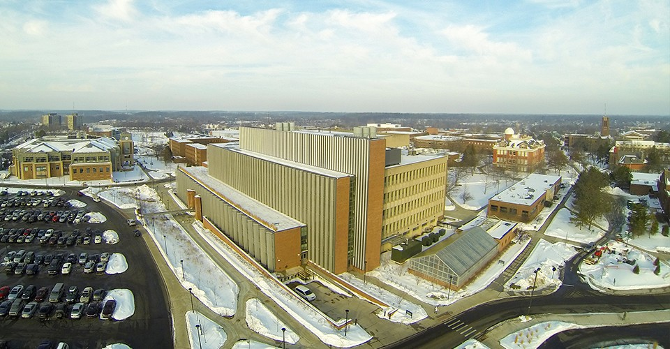 An aerial view of the Mark Jefferson Science Center and surround campus area