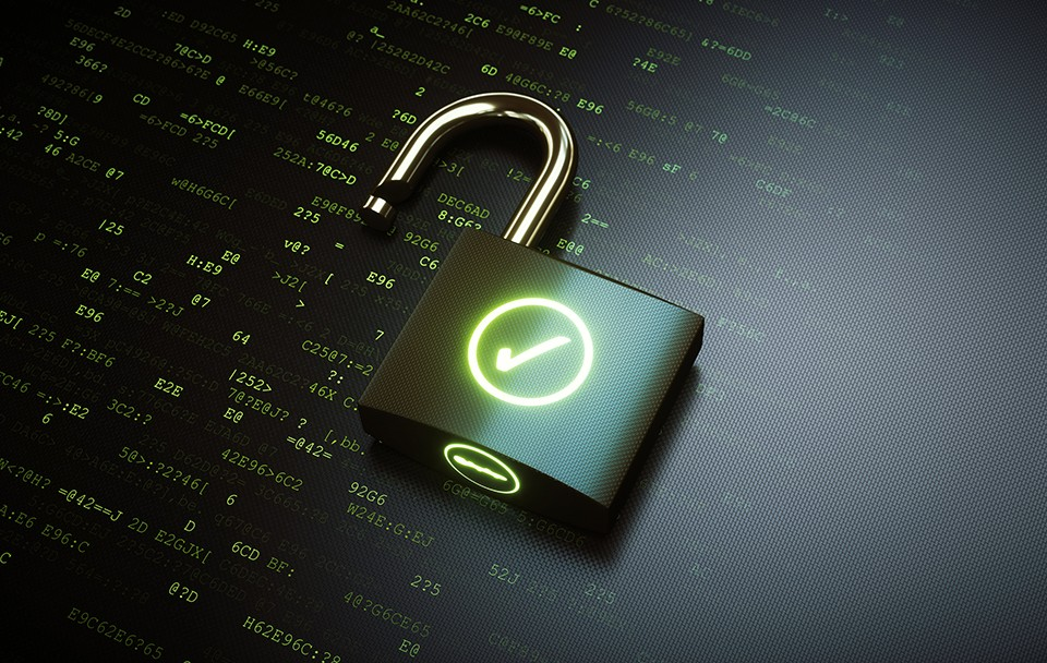 iStock/Getty image photo illustration of padlock and data.