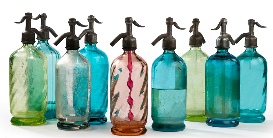 colorful vintage seltzer bottles