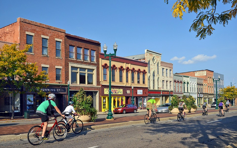 Riding bikes in downtown Ypsilanti