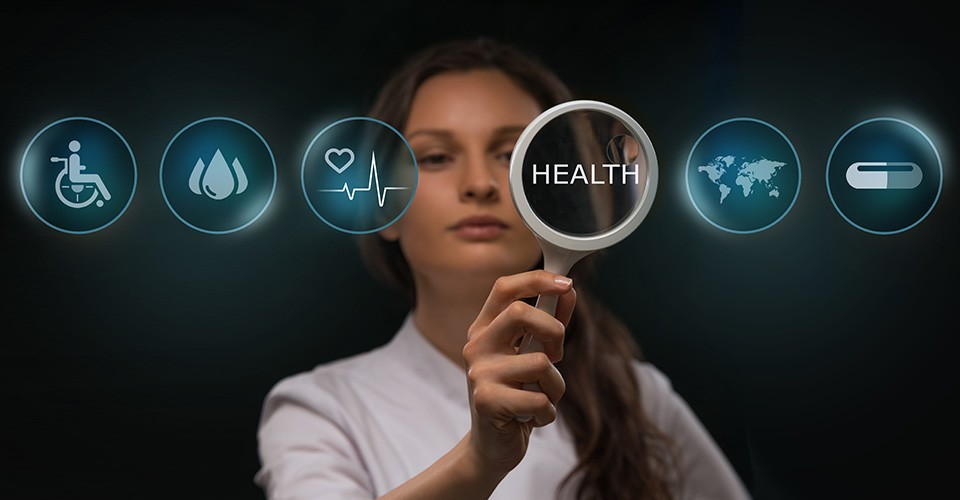 photo illustration of a woman examining healthcare icons