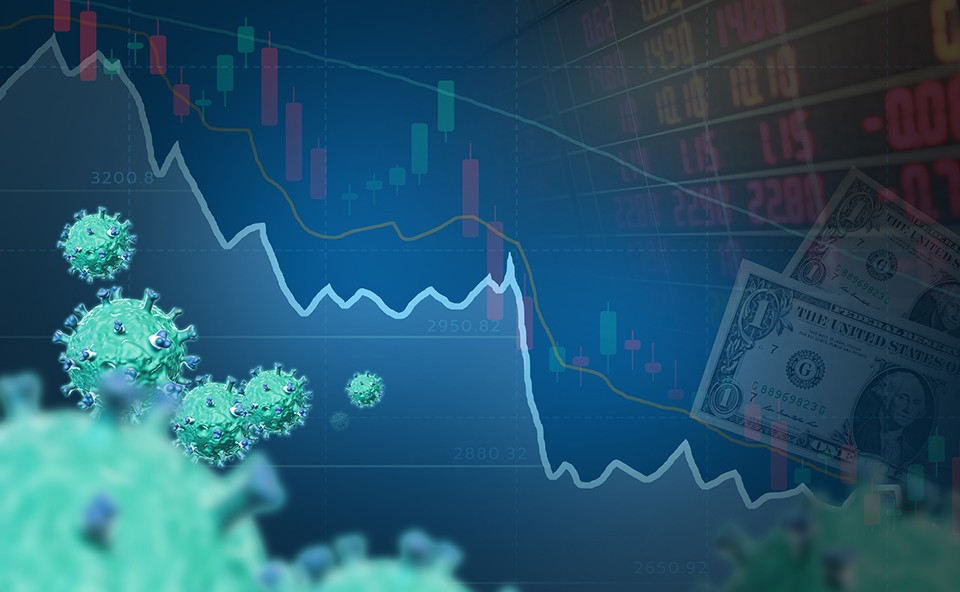 Photo illustration fo stock market and coronavirus images