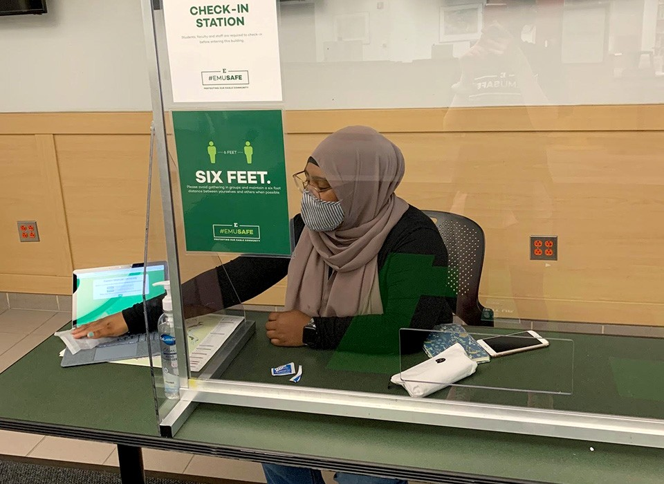 Student Ambassador at campus check-in station