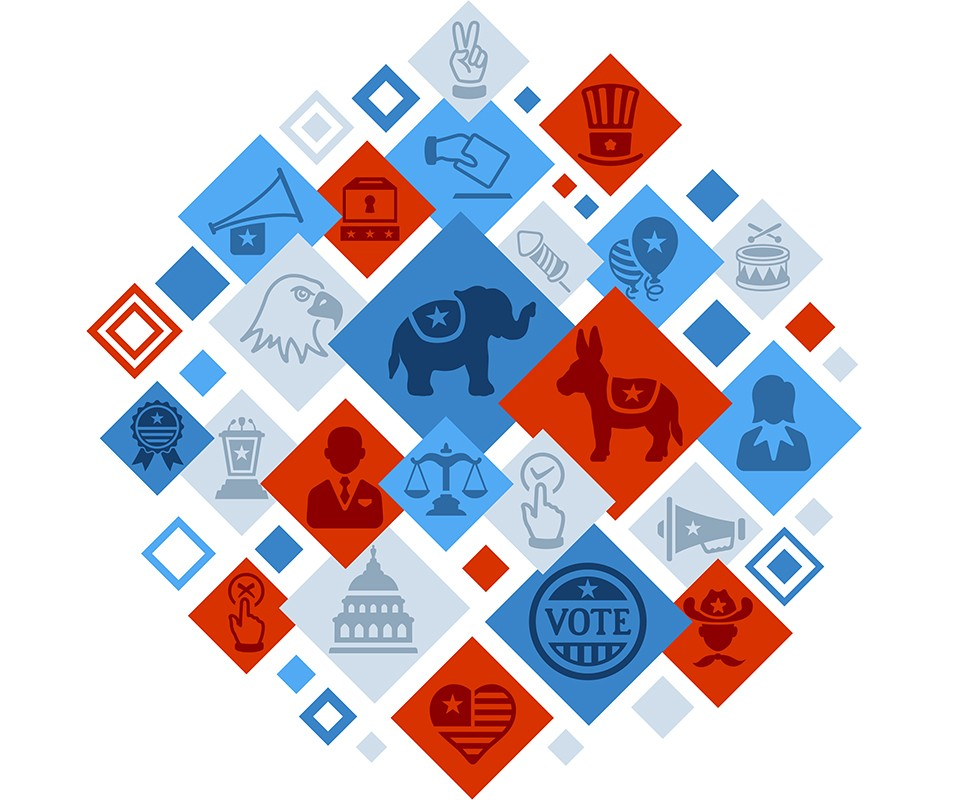 A poster-style illustration of American government images in red, white and blue