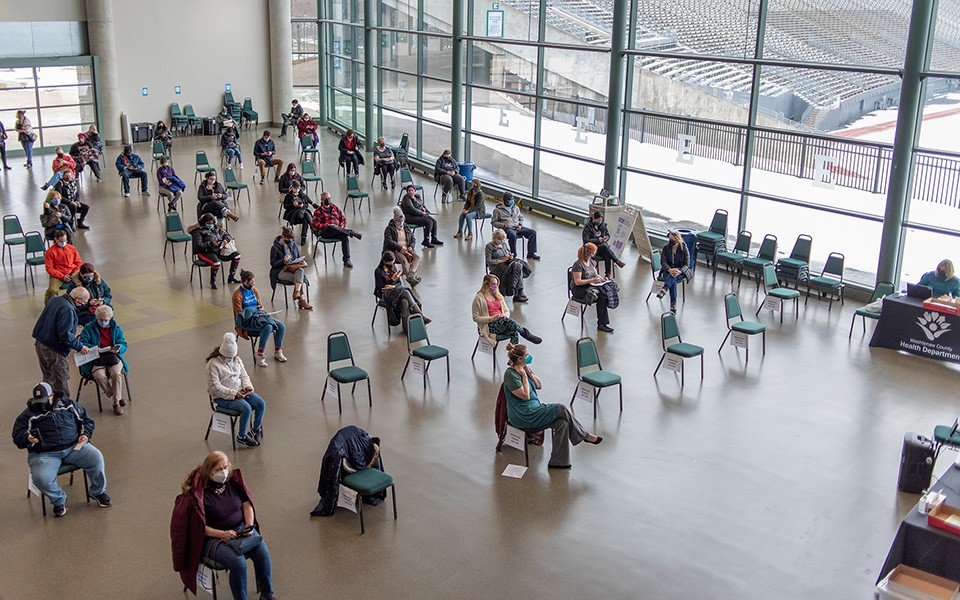 Overhead view of waiting area at Convocation Center vaccination site