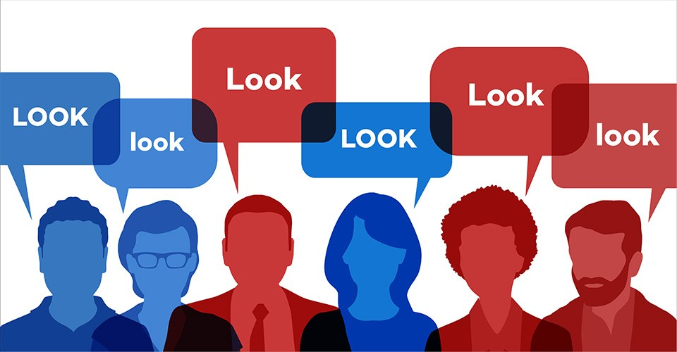 "Illustration of red and blue silhouetted people saying ""Look"""