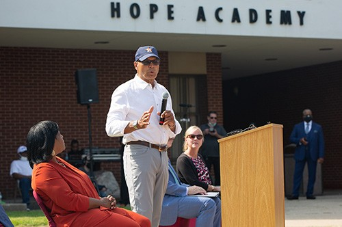 Reggie Jackson speaks at the STEM outreach event at Hope Academy.