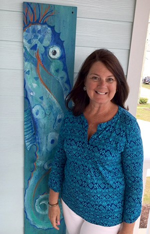 Tammy Tabor with seahorse painting