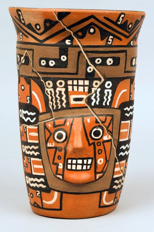 a cracked Peruvian beer vessel