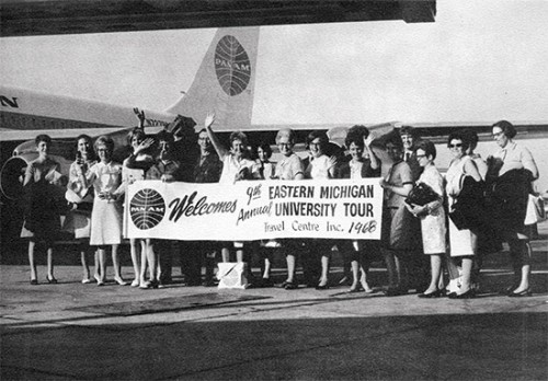Travel group in front of Pan Am plane in 1968.