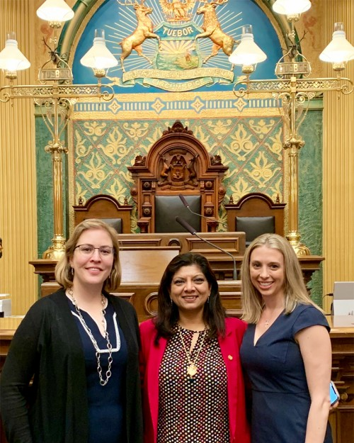 Kelly (left) and Marsack-Topolewski (right) and testified in support of House Bill 4076.  The bill's sponsor is Michigan Representative Padma Kuppa (center).