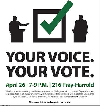 Eastern Michigan University to host debate April 26 for Democratic
